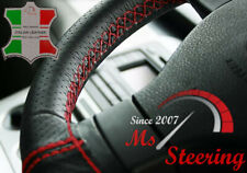 VW TRANSPORTER T5 BLACK PERFORATED LEATHER STEERING WHEEL COVER RED DOUBLE ST
