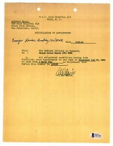 Louise Budrey Signed Appointment Document BAS D87506 USS Indy Rescue Nurse