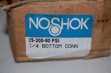 """NOSHOK PRESSURE GAUGE 25-300-60 1/4"""" BOTTOM 0-60 PSI LIQUID FILLED BRASS CASE"""