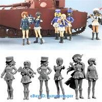 1/35 6Pcs Anime Tank Crew Female Soldier Figure Unpainted Resin Model Kits