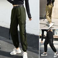 Mode Femme Pantalon Cargo Poches Avec Ceinture Couleur Unie Ample Quotidien Plus