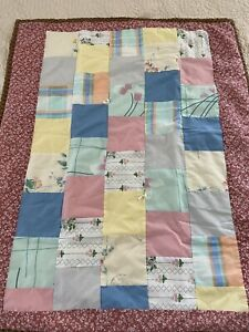 "Lovely VINTAGE Handmade  patchwork Brick Wall QUILT 30"" x 36"" Lap Throw  #577"