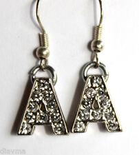 EARRINGS rhinestone initial A letter jewellery