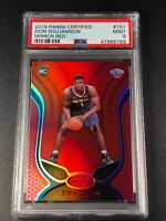 ZION WILLIAMSON 2019 PANINI CERTIFIED #151 MIRROR RED HOLOFOIL ROOKIE RC PSA 9