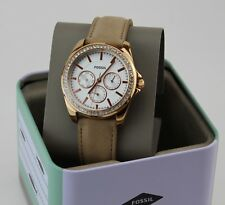 NEW AUTHENTIC FOSSIL JANICE ROSE GOLD BEIGE LEATHER WOMEN'S BQ3383 BQX3383 WATCH