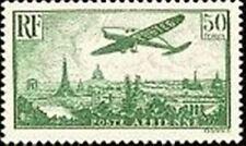 "FRANCE TIMBRE STAMP AVION 14 "" AVION SURVOLANT PARIS 50F "" NEUF X TB"