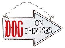 Tin Sign Dog Arrow 26cm Metal Pets Home Decor