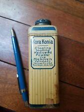 1920s Mennen KORA KONIA Medicated Powder Vintage Tin, Newark, N. J. Contents