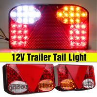 Pair 12V LED Rear Tail Light Indicator Lamp Recovery Trailer Truck Lorry