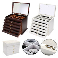 Large Wooden Jewellery Box Jewelry Organizers Storage Display Case Ring  IE