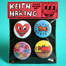 Keith Haring badges  , 32mm badge set of 4 metal pin back buttons, Art lover.