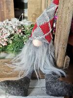 Nordischer Weihnachtswichtel Rot Kariert Kantenhocker 40cm Filzwichtel Wichtel