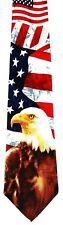 NEW! Bald Eagle on USA American Flag Patriotic Novelty Necktie #1024