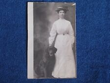 Edwardian Woman in Hat & Long White Dress with Her Chocolate Laborador Dog/RPPC