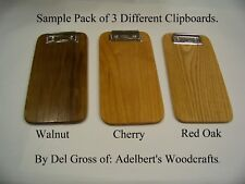 Clipboard Lot, Sample Pack of 3 Different Wooden Clipboards, Check Presenter.