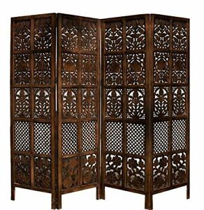 ANTIQUE STYLE HANDMADE WOODEN PARTITION SCREEN / ROOM DIVIDER, 4 PANELS-BROWN