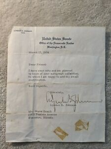 Lyndon B. Johnson autographed letter