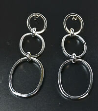 SILVER LADIES HOOP EARRINGS UNIQUE STATEMENT BRAND NEW 90's THEME(ZX7)