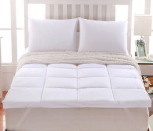 """2"""" Thick 100% Down Alternative Mattress Toppers w/ Anchor Bands"""