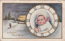 "*New Year's Postcard-""A Happy New Year""  -Child on Clock- /PM 1918/ (U1-340)"