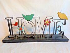 HOME Table Top Sign Black Metal BIRDS FLOWERS 9 x 20 Indoor Outdoor Decor