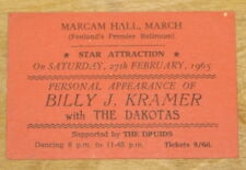 BILLY J KRAMER DAKOTAS ~ VERY RARE SIGNED AUTOGRAPHED 1965 TICKET ~ THE DRUIDS