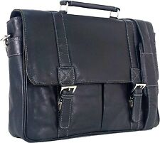 "UNICORN Real Leather 16.4"" Laptop Bag Netbook Messenger Briefcase Black #1J"