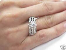 Natural Round Diamond Split Shank Pave Set White Gold Engagement Ring 14KT 1.63C