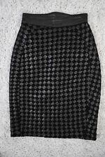 JEAN CLAUDE JITROIS Black+Leather BASKET-WOVEN PENCIL SKIRT High-Waisted XXXS