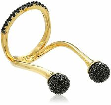 nOir 18KT Gold Plated Black Crystals Sphere Midi Knuckle Fashion Ring Size 8 NWT