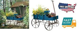 Outdoor Home Garden Yard Tools Etc Amish Wagon Decorative Backyard Planter Blue