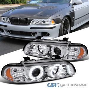 Fit BMW 96-03 E39 525i 528i 540i Clear LED Halo Projector Headlights Head Lamps