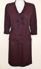K Studio Women Black Fuchsia Red 2-Piece Skirt Set Scarf-Tied V-Neck Rayon 20W
