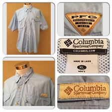 EXC COND COLUMBIA PFG MENS XL SHORT SLEEVE BLUE VENTED FISHING OUTDOOR SHIRT