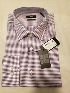 Boss Hugo Boss Men's Slim Fit Purple Checked Dress Shirt Size 17/43
