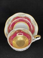 Vintage Early Transfer Gold Roses Over Burgundy Red Teacup and Saucer Set