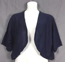 plus size Woman within rib trim open SHRUG sweater cardigan 1X 22 24 navy z3