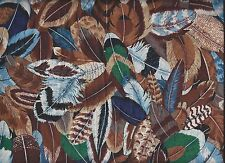 AMERICAN INDIAN FEATHERS BIRD ~ Multi-Color Quilt Cotton Fabric ~ Sold by ½ YARD