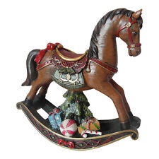 Vintage Style Christmas Rocking Horse Decoration - Resin Sparkly Brown Enchante