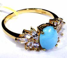 Arizona Sleeping Beauty Turquoise, Electric Blue Topaz Ring (Size 9) TGW 2.75 Ct