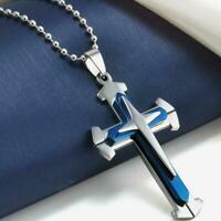 Unisex Herren Edelstahl Kreuz Blau Silber Anhänger Kette Schmuck Halskette W1D6
