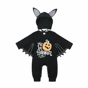 Cosplay Infant Jumpsuit Bat Costume Hooded Halloween Baby Boy Girl Romper Outfit