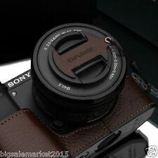 GARIZ Italian Leather Capfix Brown for Sony A6000 A5100 NEX-5T 6 5R 16-50mm Lens