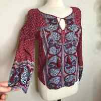 Lucky Brand mixed print paisley boho top red size small womens tassel ties S