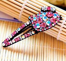 Hair Clip Bobby Pin using Swarovski Crystal Hairpin Hello Kitty Cat Magenta AB