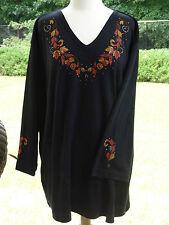 PLUS 3X Black Autumn Leaves & Vines Hand Embellished Rhinestone Long Top Shirt
