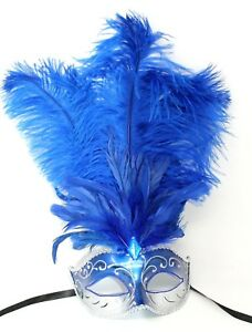 FEATHER MASK BLUE SILVER VENETIAN MASQUERADE BALL CARNIVAL PARTY EYE FACE MASK