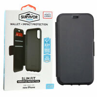 For iPhone X/XS Black Griffin Survivor Wallet Case Cover Strong Slim Fit Folio