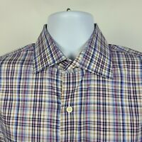 Peter Millar Brown Purple Gray Plaid Check Mens Dress Button Shirt Size Large L