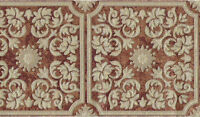 Victorian Scroll Leaf Tiles Patina Copper Brown Gold Embossed Wallpaper Border